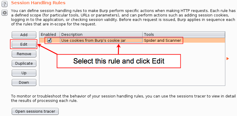 Session Handling Rules Menu