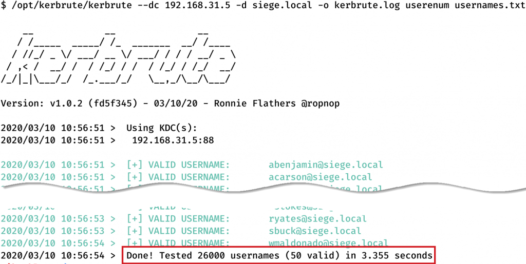 Username Enumeration with Kerbrute