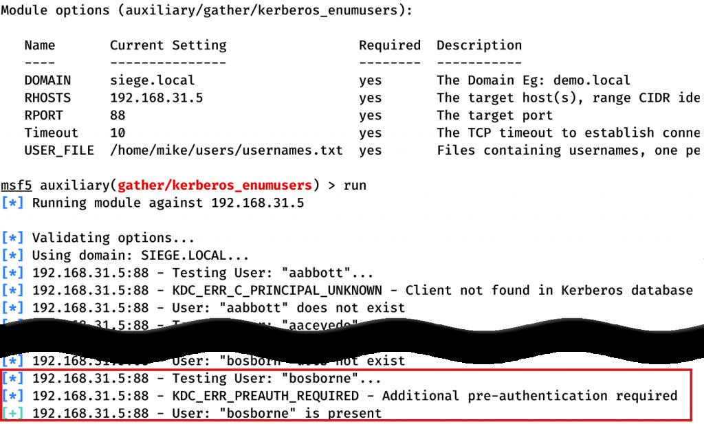 Metasploit kerberos_enumusers User Enumeration