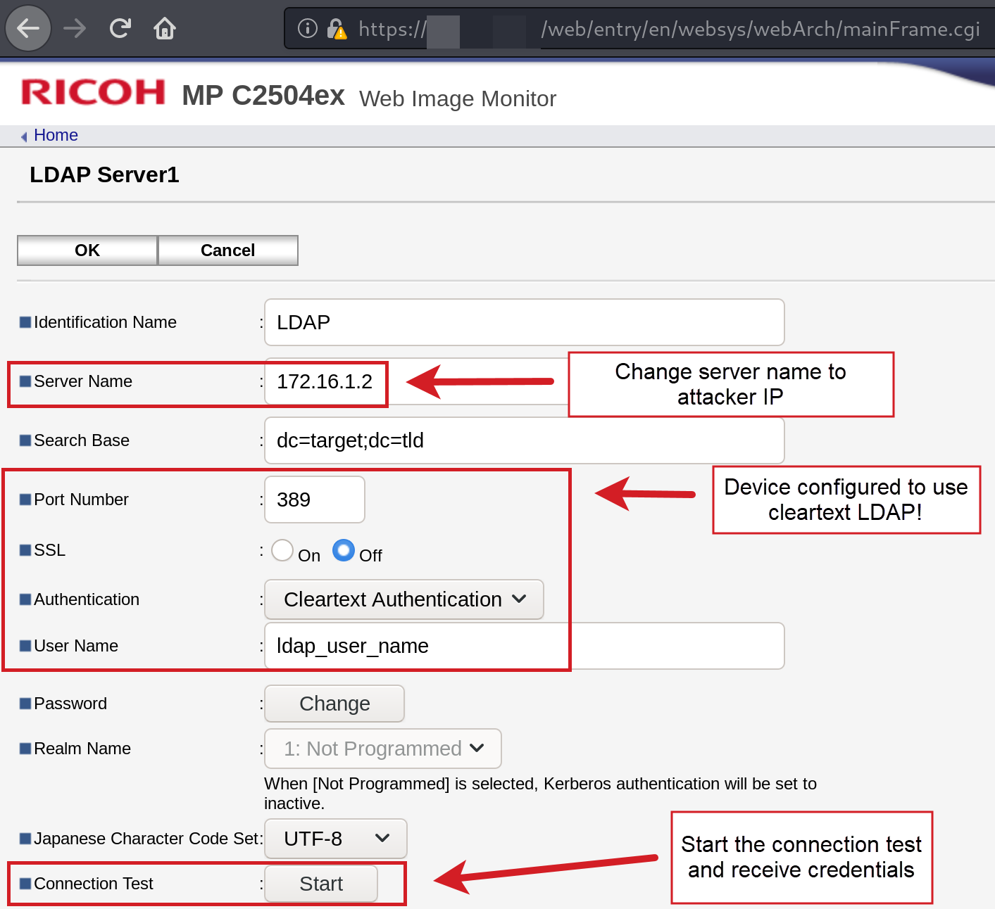 Ricoh MFD LDAP Configuration Interface